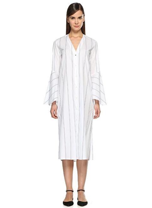 d119a98752916 Academia Kadın Çizgi Desenli V Yaka Kolları Volanlı Elbise Lacivert  İndirimli Fiyat | Morhipo | 19443709